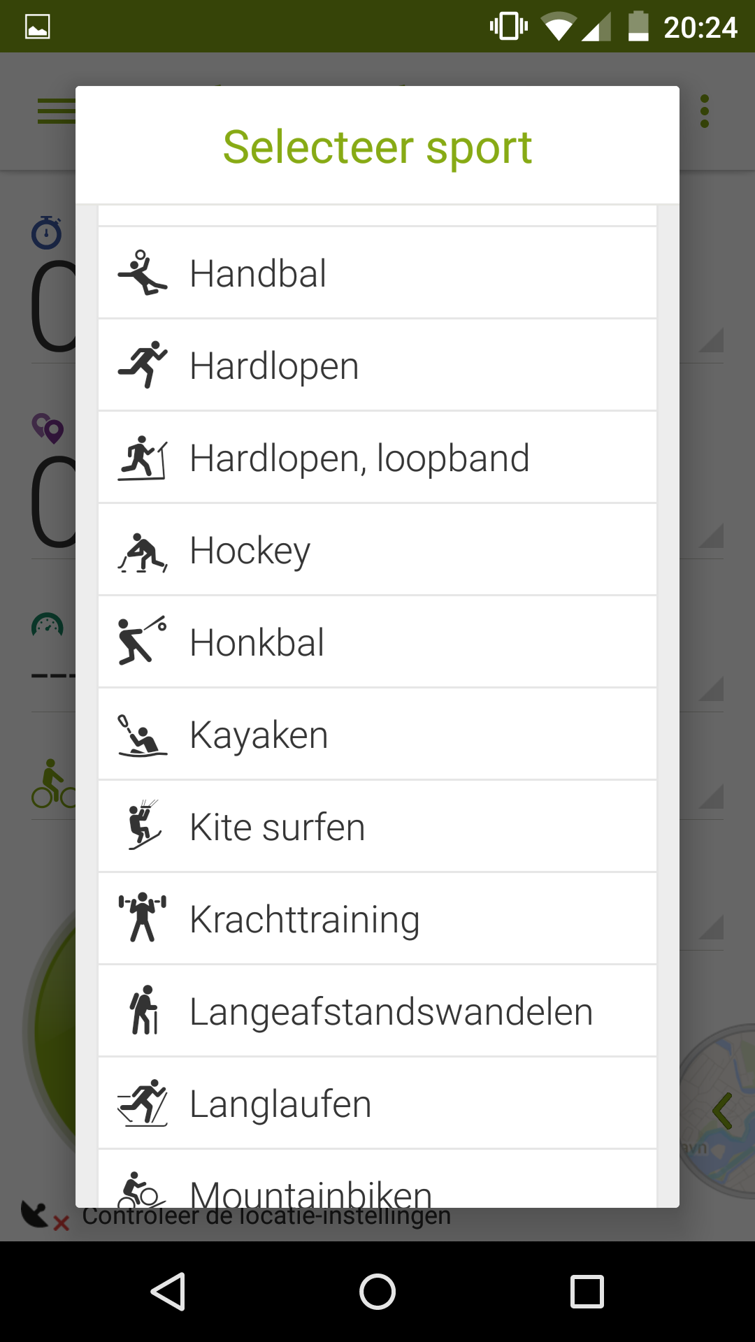 Endomondo - list of sports