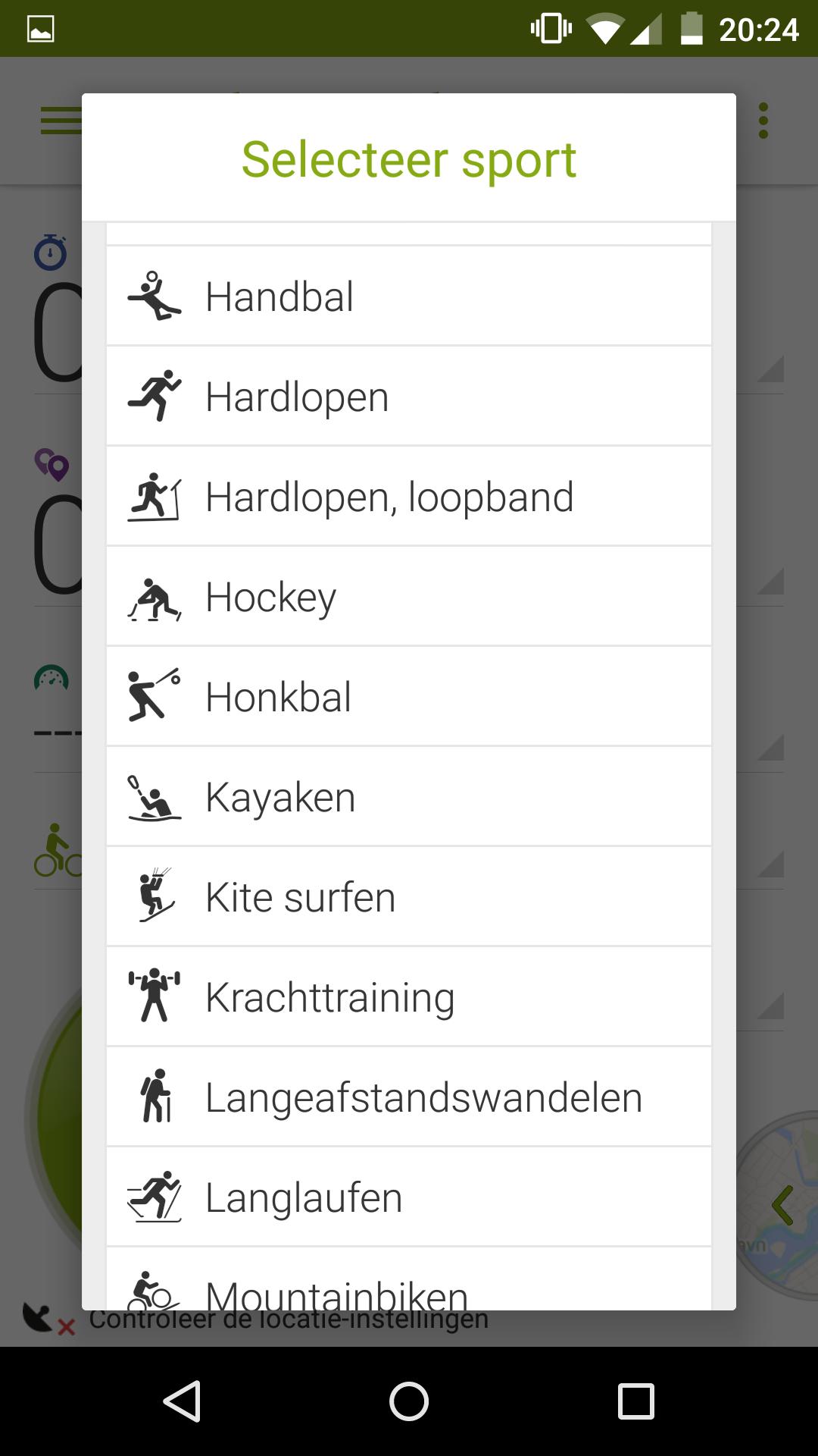 Endomondo - list of sports